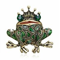 Fashion Women Crystal Crown Frog Rhinestone Brooch Pin Animal Jewelry Costume