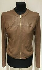 Ladies VIA SPIGA Collarless Leather Jacket Knitted back - Size XS - Colour Sand