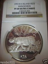 1993 British Virgin Islands Rhinoceros $25 .925 Silver Coin Ngc Graded Pf 68 Hot