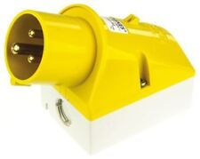 Mennekes IP44 Yellow Wall Mount 3P Right Angle Industrial Power Plug, Rated At 1