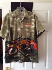 Awesome!MENS 100% Polyester Short Sleeve Button Down Shirt Sz M Cool Motorcycle