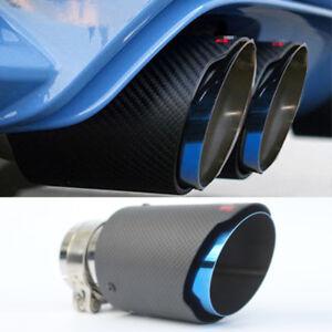 1pc Blue Burnt Steel End Carbon Fiber Car Exhaust Muffler Pipe End Tip 63mm-89mm