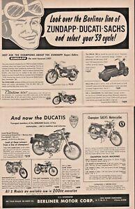 1959 Zundapp Ducati Sachs Berliner Motor Corp. - 2-Page Vintage Motorcycle Ad