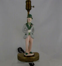 "Kay Finch Lamp w Courting Godey Man Figurine on Brass Base, 14"" tall, Rare Find"