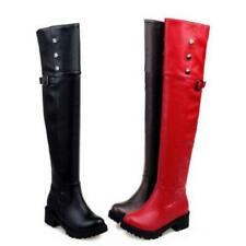 Womens Winter Long Plush Over the Knee Plus size High Thigh Boots Riding Shoes