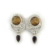 Goddess Earrings with Garnet Post Earrings Offerings Sajen 925 Ss Tiger Eye