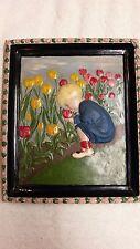 "Vintage"" Boy Tending Tulips"" Plaster Art Work, Made in 1937"