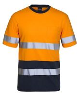 Jb's wear Hi Vis Cotton Day & Night Safety Work T-Shirt Tee Reflective Tape