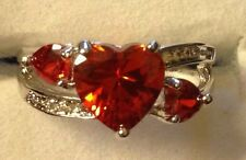 FIRE ORANGE TOPAZ HEART SHAPE  STONES / WHITE TOPAZ SILVER RING SIZE 6/7/8/9/10