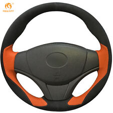 Mewant Black Suede Orange Leather Steering Cover for Toyota Yaris Vios 2014-2016