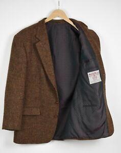 HARRIS TWEED Men's ~LARGE Brown Melange Wool Formal Blazer 36320-GS