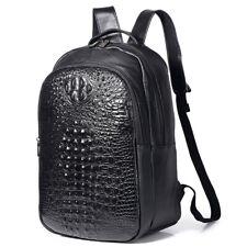 "Men's Cow Leather Crocodile Backapck for 14"" Travel Rucksack Laptop School Bag"