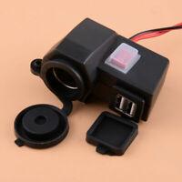 12V Dual USB Motorcycle Cigarette Lighter Waterproof Power Port Outlet Socket