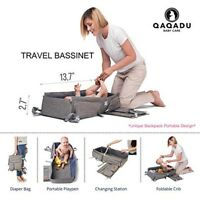 3 in 1 Qaqadu Baby Care Multi-Function Travel Bassinet Backpack Diaper Bag EUC
