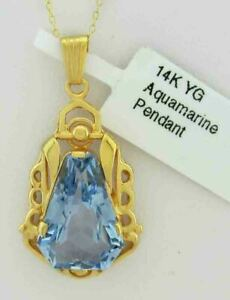 AQUAMARINE 8.68 Cts PENDANT 14K YELLOW GOLD *** New With Tag ***