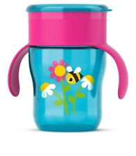 Philips Avent Spill Drip Free Cup 260 Ml SCF782 / 17 Blue Pink Leak Proof Valve