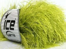 38Yd Apple Green Extra Long Eyelash Yarn #42070 Ice Luxurious New Fun Fur 50Gram