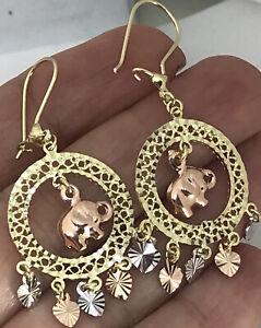 GOLD Elephant heart chandelier earring 14k Good luck solid white yellow Rose