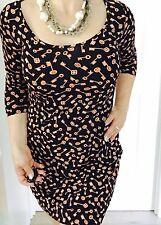 LEONA EDMISTON RUBY WOMENS DRESS SHORT KEYS PRINT 3/4 Slv A Line SZ XS