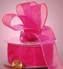 Bi-Color Edge Sheer Ribbon FUCHSIA color 5/8 inch wide price for 3 yards