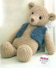"KNITTING PATTERN - TEDDY BEAR WEARING WAISTCOAT BABY CHILD'S TOY 14"" (35cm) TALL"