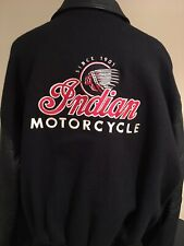 INDIAN MOTORCYCLE XXL BLACK BOMBER JACKET LEATHER SLEEVES WOOL BODY