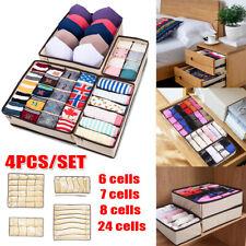 4Pc/Set Closet Underwear Organizer Foldable Storage Box Drawer Divider Container