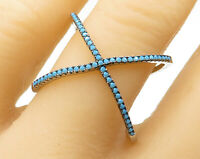 DBJ 925 Sterling Silver - Vintage Turquoise Criss Cross Ring Sz 8 - R3331