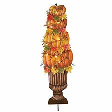 Fall LED Lighted Pumpkin Topiary Stake
