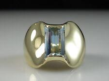 14K Aquamarine Ring Emerald Cut Fine Jewelry Genuine Monaco Yellow JAMES AVERY