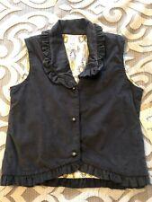 NWT Girls Persnickety Vest Size 10 Gray Fine Wale Corduroy Ruffle