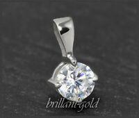 Diamant Solitär Brillant Anhänger mit 0,32 ct; lupenrein, 14 Karat Weißgold NEU