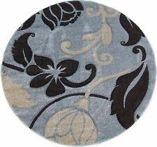 "5'5 x 5'5"" Round Area Rug Floral Blue, Cream, Black Woven Home Decor Carpet"