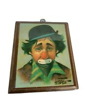Sad Clown On Wood Wall Art by Chuck Oberstein Set In Resin Vintage Dated 1984