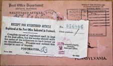 USPS Post Office 1921 Registered Mail Card/Postcard w/Receipt-Darby/Philadelphia
