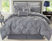 Deluxe Grey Lavender Ivory Brown Pintuck 8 pcs Comforter Cal King Queen Set