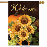 """Welcome Fall Sunflowers House Flag Autumn Floral 28"""" x 40"""" Briarwood Lane"""