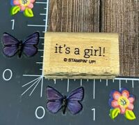 Stampin' Up! It's A Girl! Rubber Stamp Gender Reveal Shower Announcement #N81