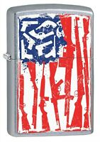 Zippo Lighter: American Flag of Guns - Street Chrome 79575