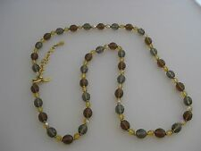"""Joan Rivers Earth Tone Bead Necklace Gold Tone 35""""  Brown Gray Yellow"""