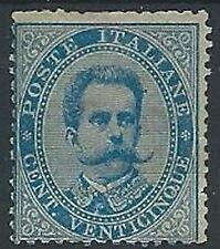 1879 REGNO UMBERTO I 25 CENT ANGOLO DX BASSO PIEGATO MH * - ED515
