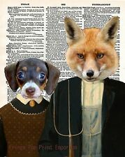 American Gothic Art Print 8 x 10 - Animal Parody - Anthropomorphic - Fox Hound