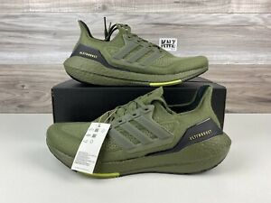 ***Men's Adidas Ultraboost 21 Focus Olive Yellow   size 12   S23876 NWB