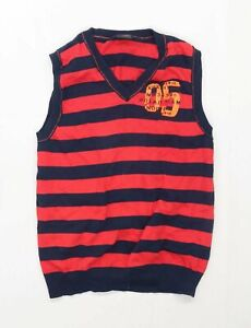 Next Boys Striped Red Sleeveless Jumper Age 12 Years