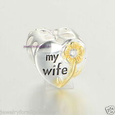 Sterling Silver 925 European Charm Love My Wife Heart w/ Gold Plated Flower 485