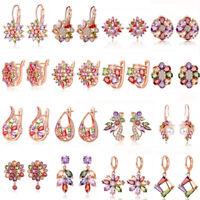 Women Rose Gold Plated Multi-Color Crystal Earrings Ear Stud Dangle Drop Jewelry