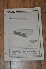 GEC V4005H VHS VIDEOREGISTRATORE manuale, equivalente a HITACHI VT52, VT63, VT64.