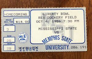 1986 NCAA Football Mississippi St vs Memphis St Ticket Stub Liberty Bowl