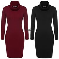 Women Cowl Neck Sweater Dress Fall/Winter Knit Long Sleeve Red/Brown/Black/Gray