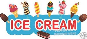 """Ice Cream Decal 36"""" Cart Stand Concession Food Truck Restaurant Vinyl Sign"""